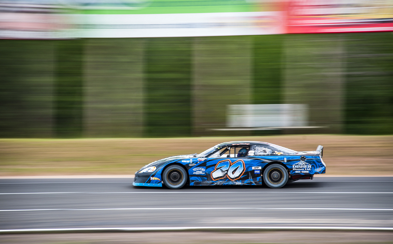 Greg Fahey hustles his Pro Stock ride down the back straight at Speedway 660 during qualifying for the Auto Value 250. Photo Credit: Matt Jacques Photography